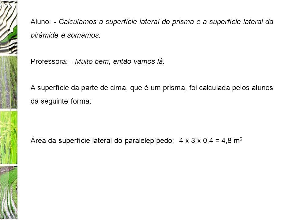 Aluno: - Calculamos a superfície lateral do prisma e a superfície lateral da pirâmide e somamos.
