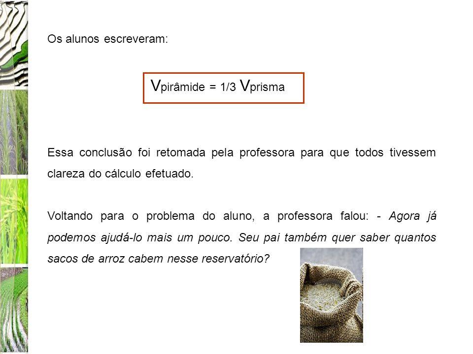 Os alunos escreveram: Vpirâmide = 1/3 Vprisma. Essa conclusão foi retomada pela professora para que todos tivessem clareza do cálculo efetuado.