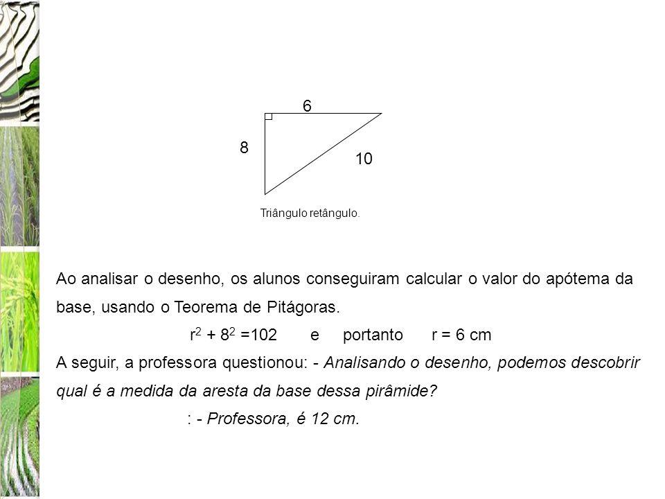 10 6. 8. Triângulo retângulo. Ao analisar o desenho, os alunos conseguiram calcular o valor do apótema da base, usando o Teorema de Pitágoras.