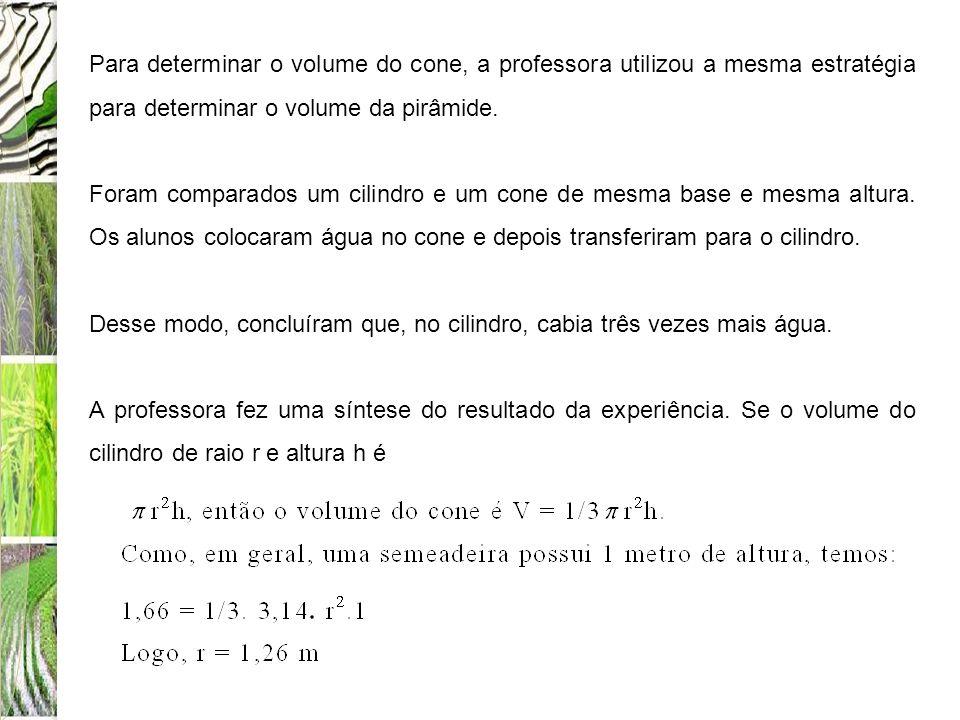 Para determinar o volume do cone, a professora utilizou a mesma estratégia para determinar o volume da pirâmide.