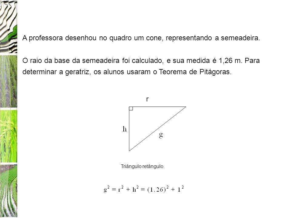 A professora desenhou no quadro um cone, representando a semeadeira.