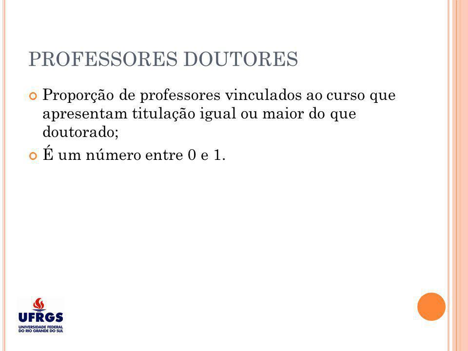 PROFESSORES DOUTORES Proporção de professores vinculados ao curso que apresentam titulação igual ou maior do que doutorado;