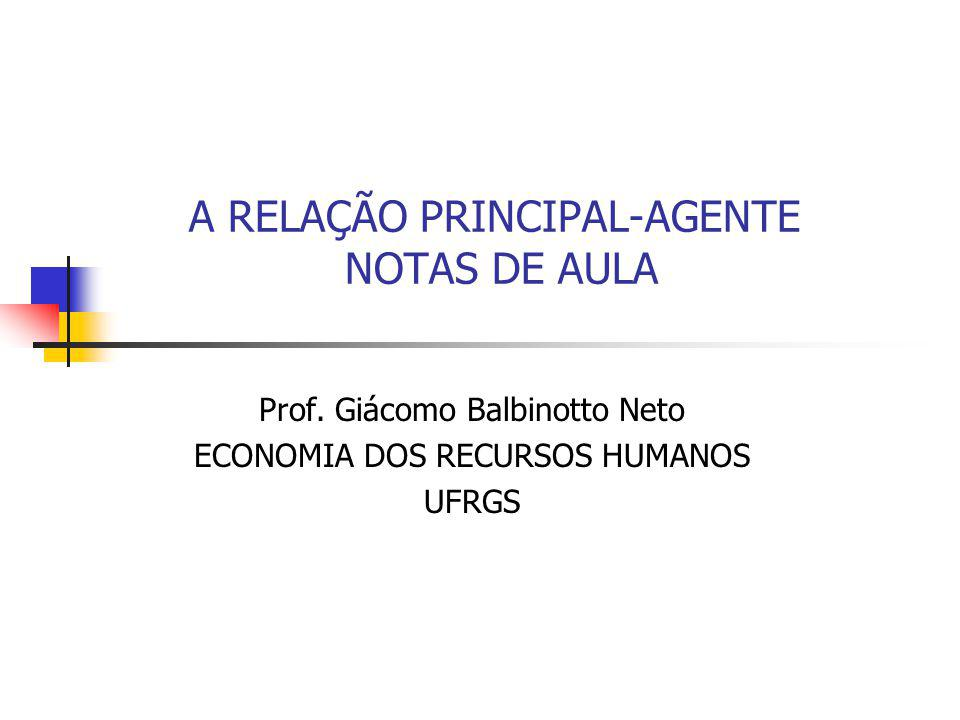 A RELAÇÃO PRINCIPAL-AGENTE NOTAS DE AULA