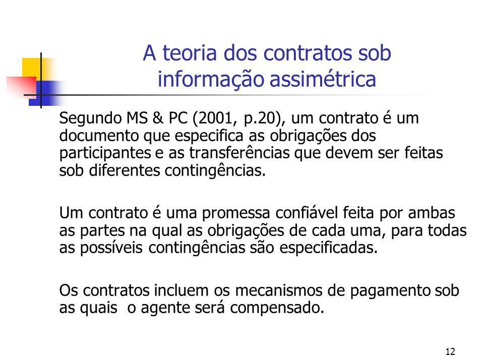 A teoria dos contratos sob informação assimétrica