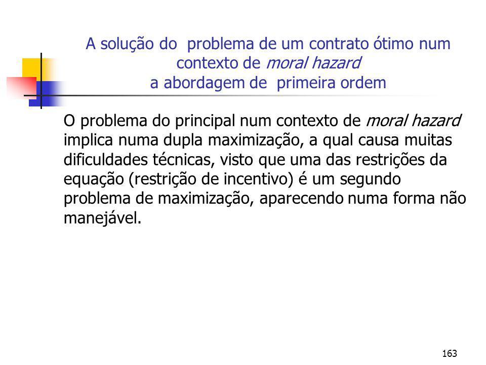 A solução do problema de um contrato ótimo num contexto de moral hazard a abordagem de primeira ordem