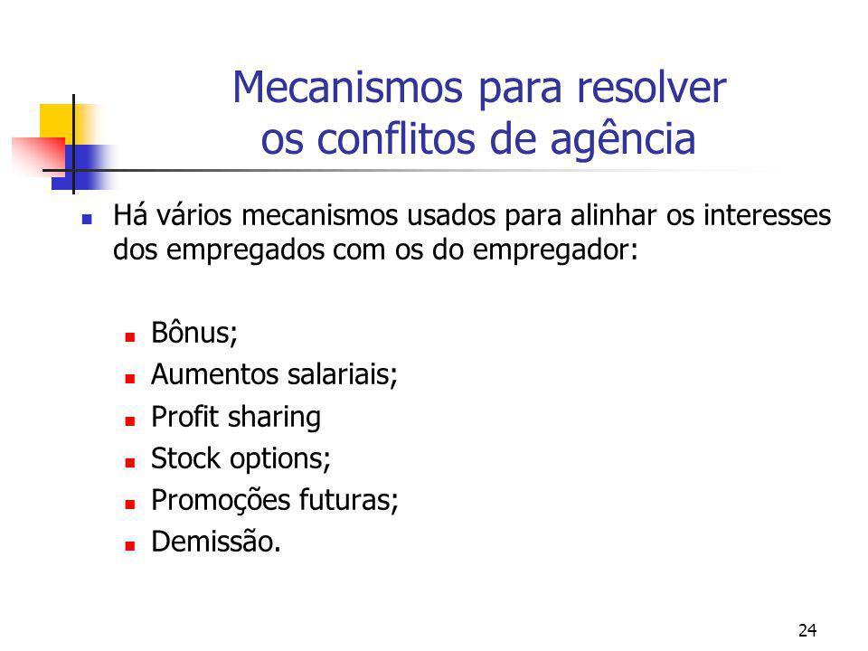 Mecanismos para resolver os conflitos de agência