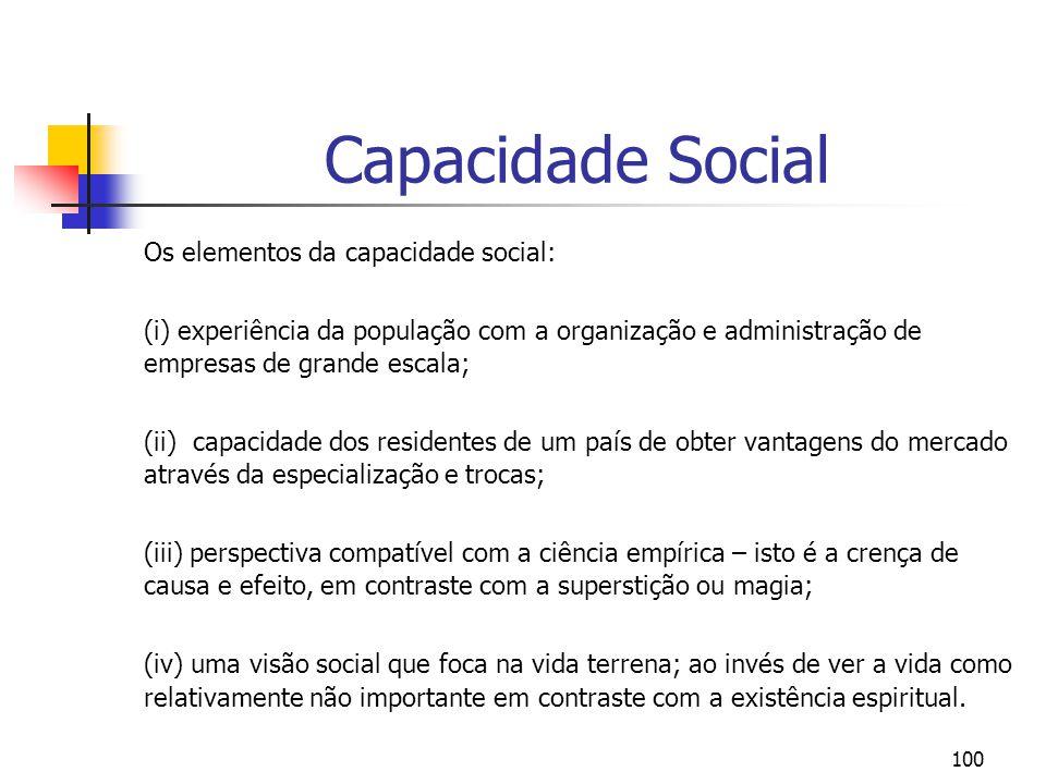 Capacidade Social Os elementos da capacidade social: