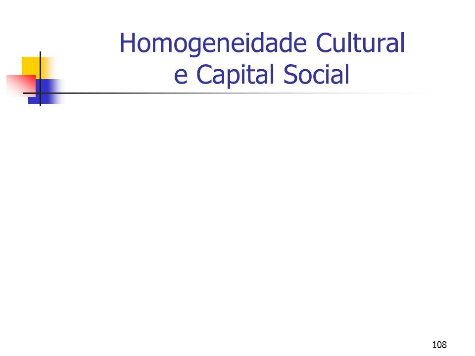Homogeneidade Cultural e Capital Social
