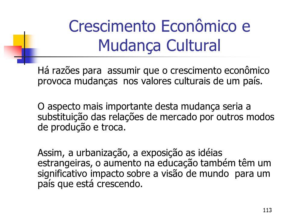 Crescimento Econômico e Mudança Cultural