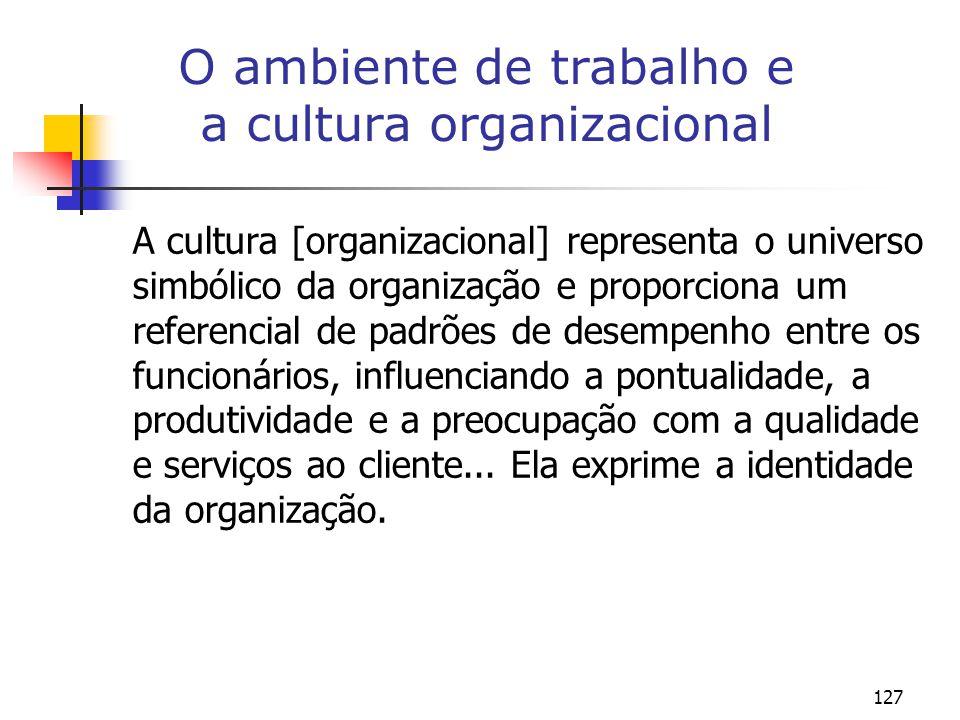 O ambiente de trabalho e a cultura organizacional