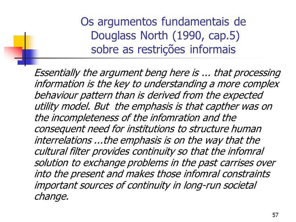 Os argumentos fundamentais de Douglass North (1990, cap