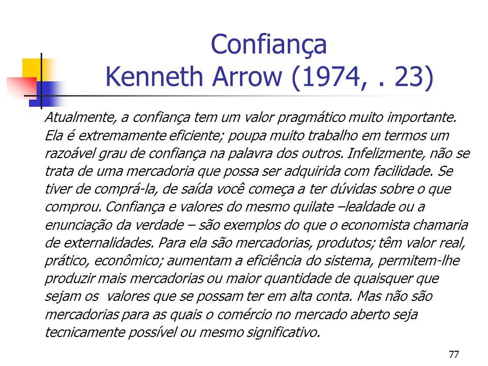 Confiança Kenneth Arrow (1974, . 23)