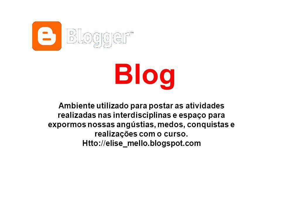 Blog Ambiente utilizado para postar as atividades