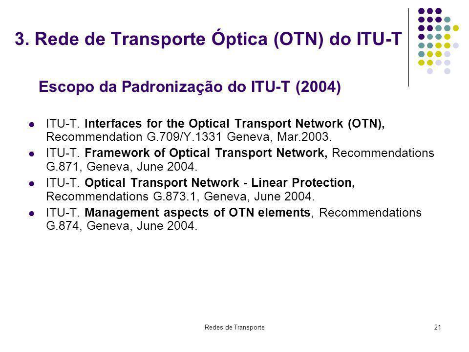 3. Rede de Transporte Óptica (OTN) do ITU-T