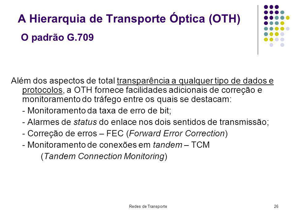 A Hierarquia de Transporte Óptica (OTH) O padrão G.709