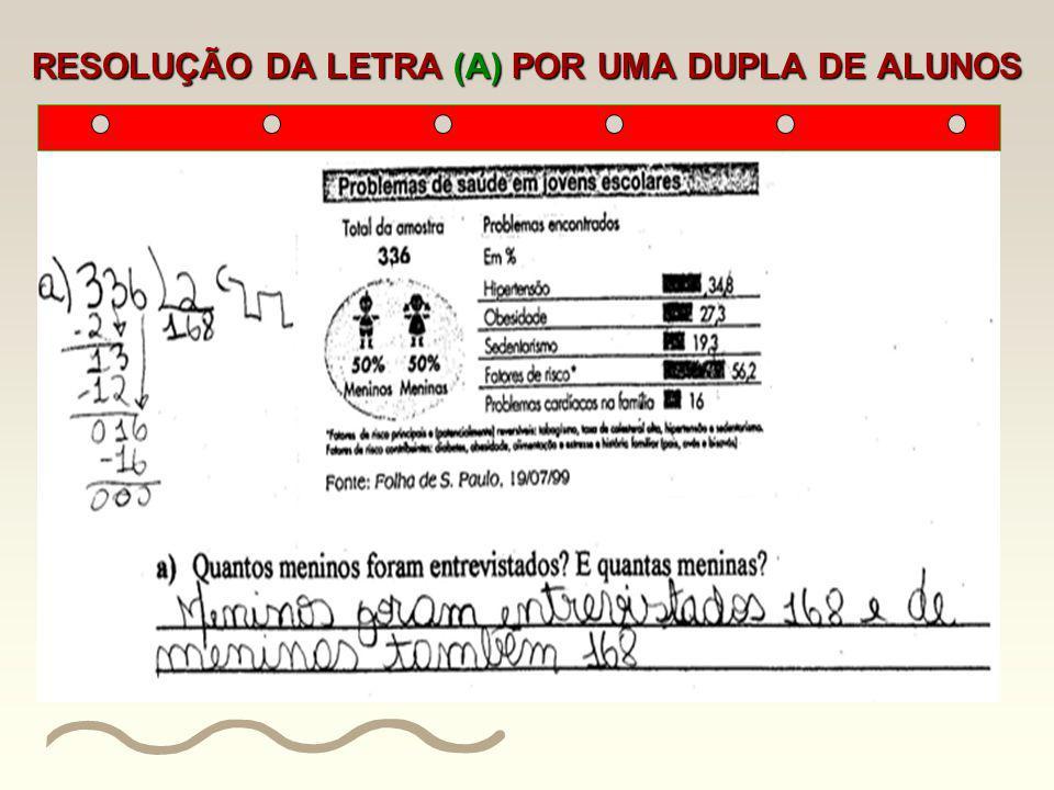 RESOLUÇÃO DA LETRA (A) POR UMA DUPLA DE ALUNOS