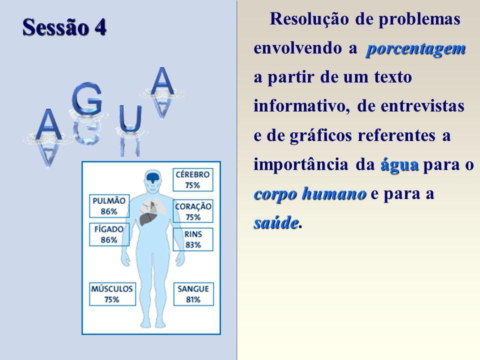 Resolução de problemas envolvendo a porcentagem a partir de um texto informativo, de entrevistas e de gráficos referentes a importância da água para o corpo humano e para a saúde.