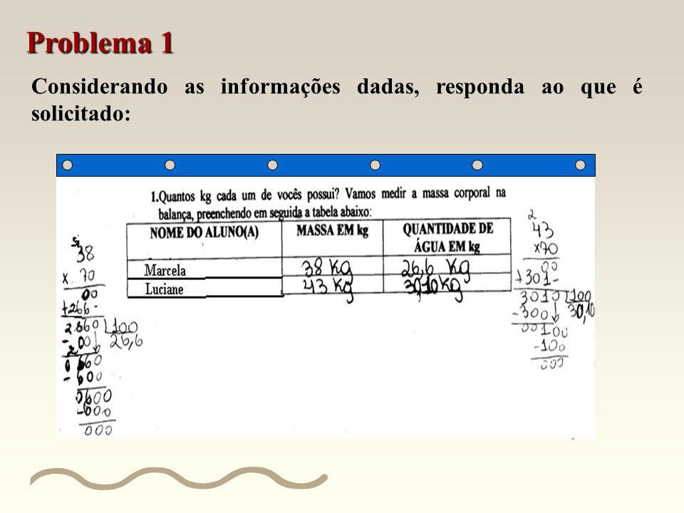 Problema 1 Considerando as informações dadas, responda ao que é solicitado: