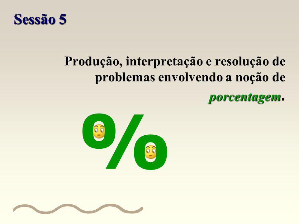 Sessão 5 Produção, interpretação e resolução de problemas envolvendo a noção de porcentagem. %