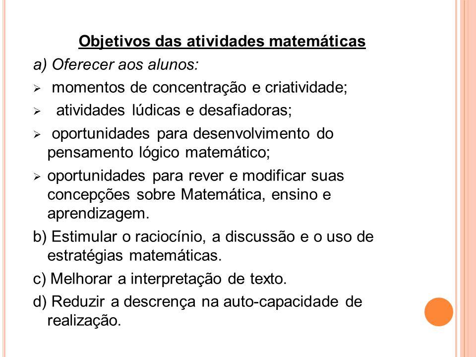 Objetivos das atividades matemáticas