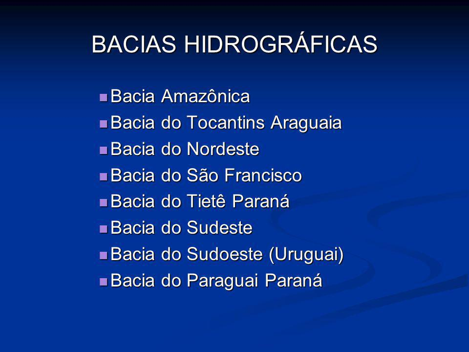 BACIAS HIDROGRÁFICAS Bacia Amazônica Bacia do Tocantins Araguaia