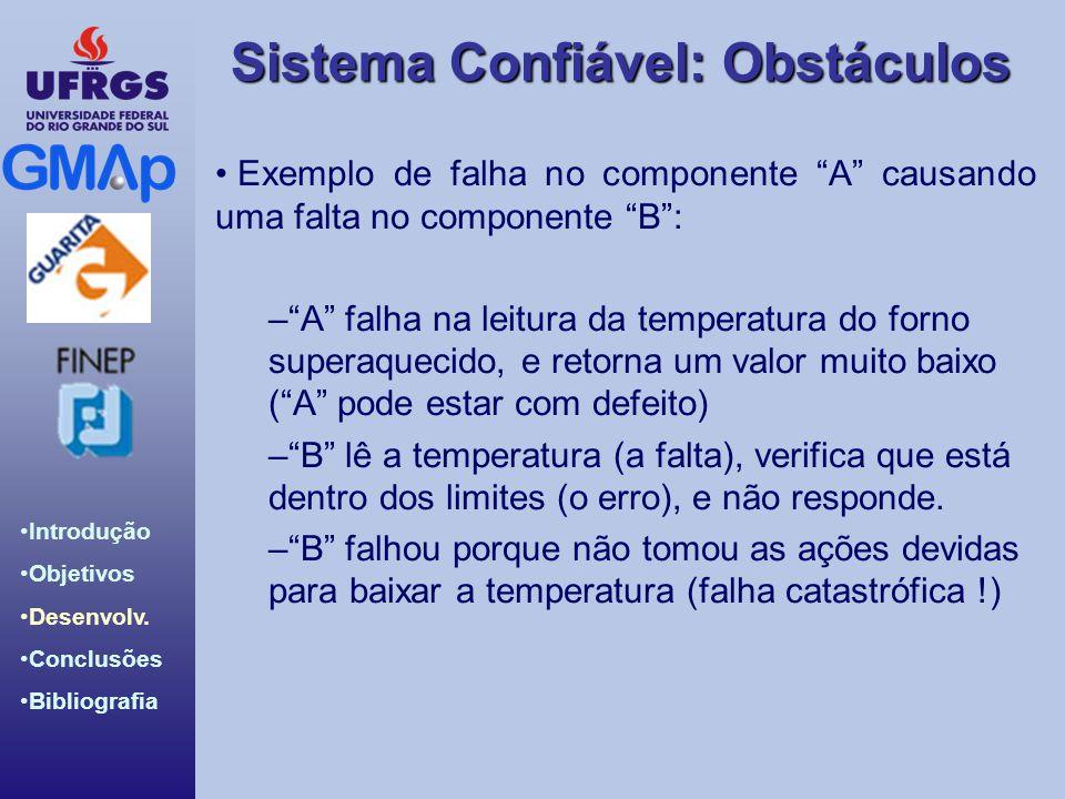 Exemplo de falha no componente A causando uma falta no componente B :
