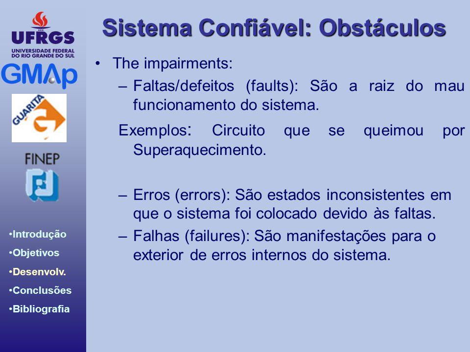 The impairments: Faltas/defeitos (faults): São a raiz do mau funcionamento do sistema. Exemplos: Circuito que se queimou por Superaquecimento.