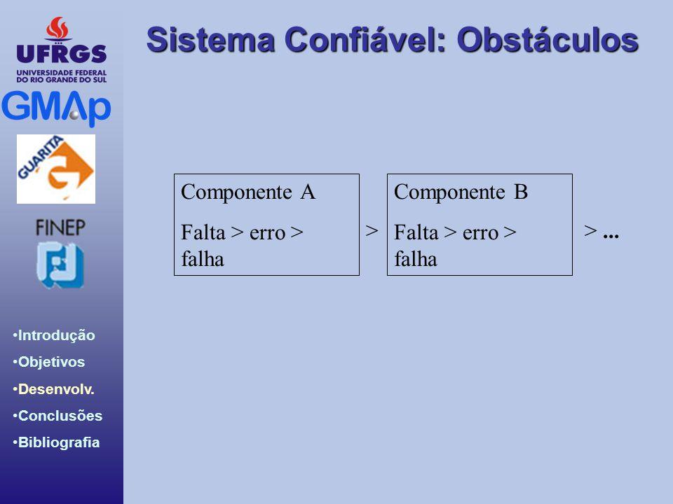 Componente A Falta > erro > falha Componente B > > ...