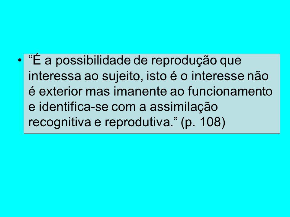 É a possibilidade de reprodução que interessa ao sujeito, isto é o interesse não é exterior mas imanente ao funcionamento e identifica-se com a assimilação recognitiva e reprodutiva. (p.