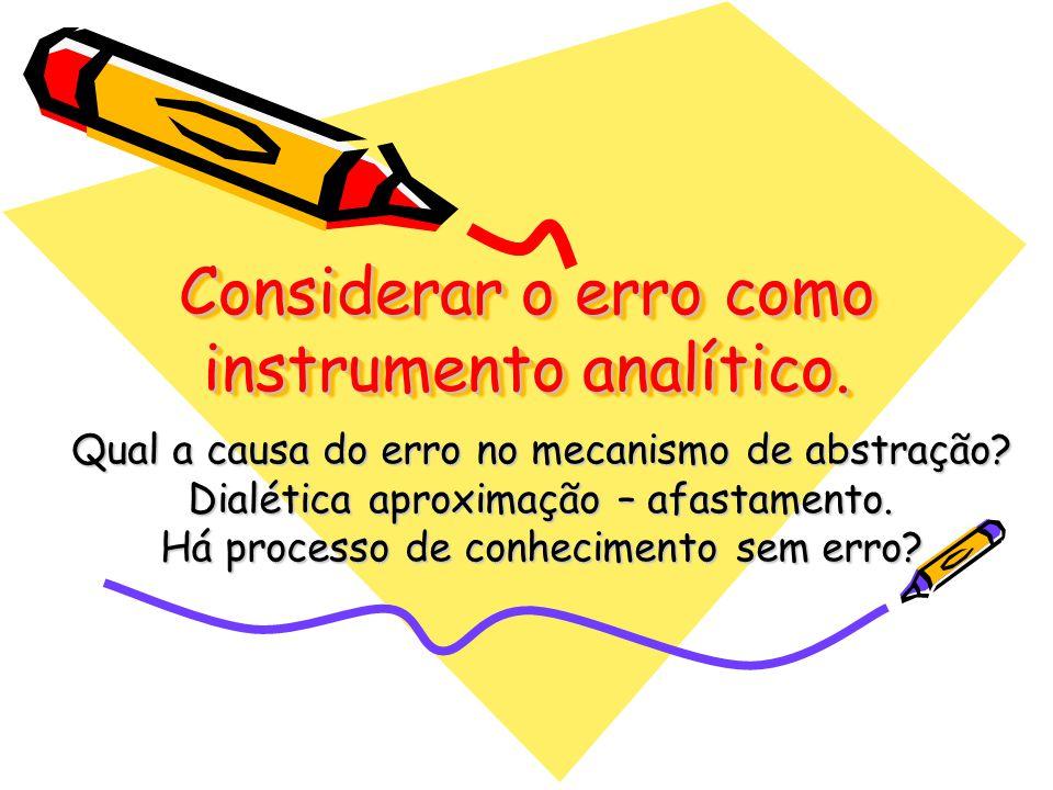 Considerar o erro como instrumento analítico.