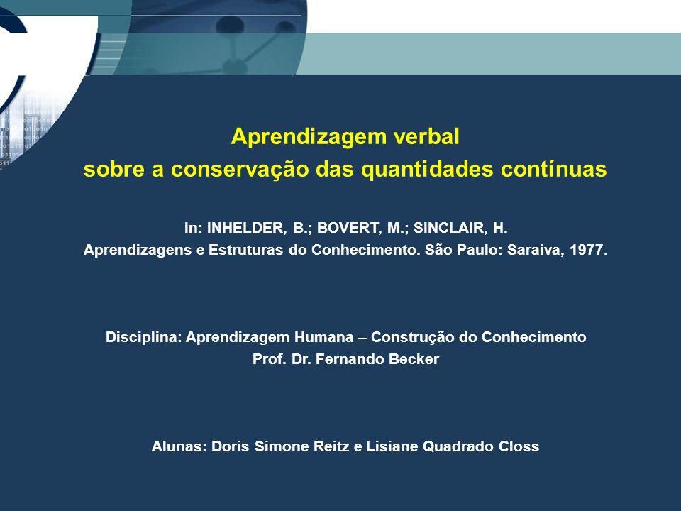 Aprendizagem verbal sobre a conservação das quantidades contínuas