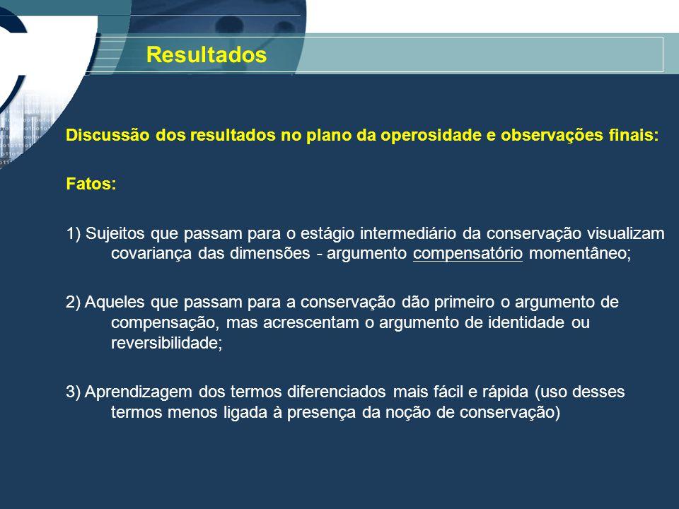 Resultados Discussão dos resultados no plano da operosidade e observações finais: Fatos: