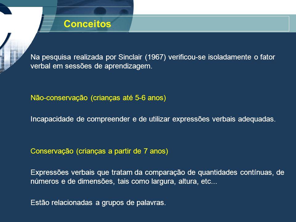 Conceitos Na pesquisa realizada por Sinclair (1967) verificou-se isoladamente o fator verbal em sessões de aprendizagem.