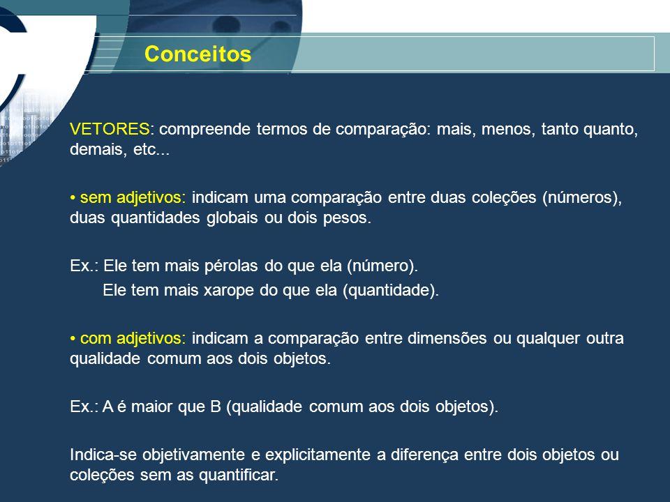 Conceitos VETORES: compreende termos de comparação: mais, menos, tanto quanto, demais, etc...