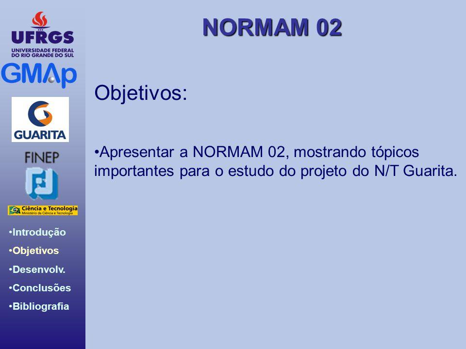 Objetivos: Apresentar a NORMAM 02, mostrando tópicos importantes para o estudo do projeto do N/T Guarita.