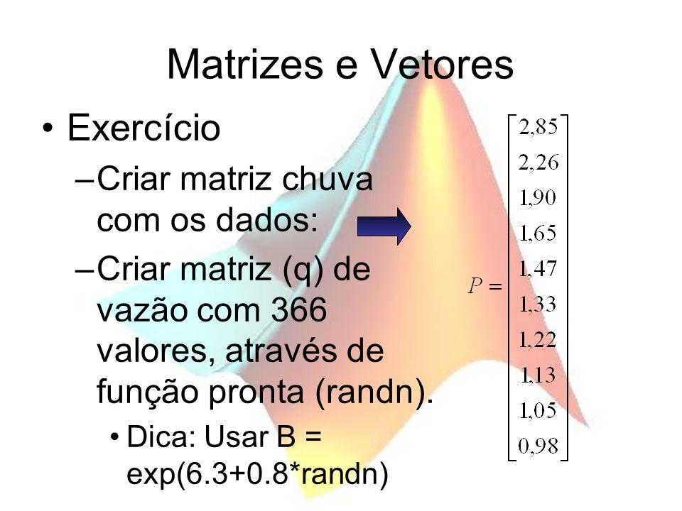 Matrizes e Vetores Exercício Criar matriz chuva com os dados: