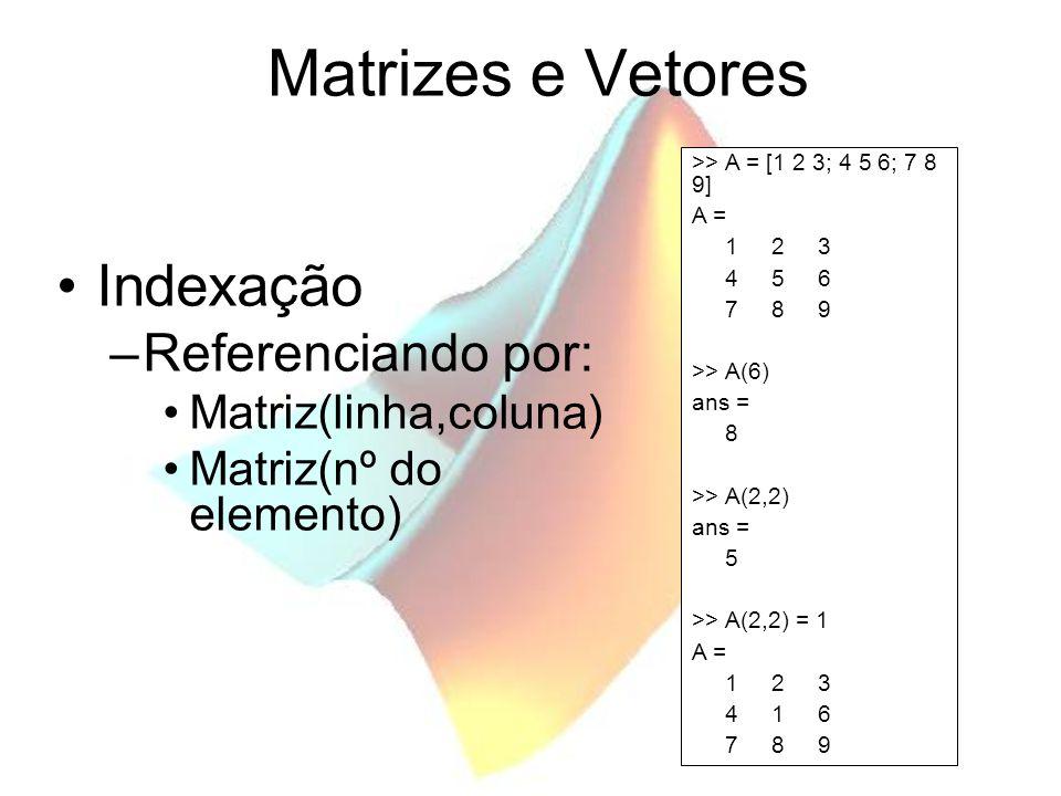 Matrizes e Vetores Indexação Referenciando por: Matriz(linha,coluna)