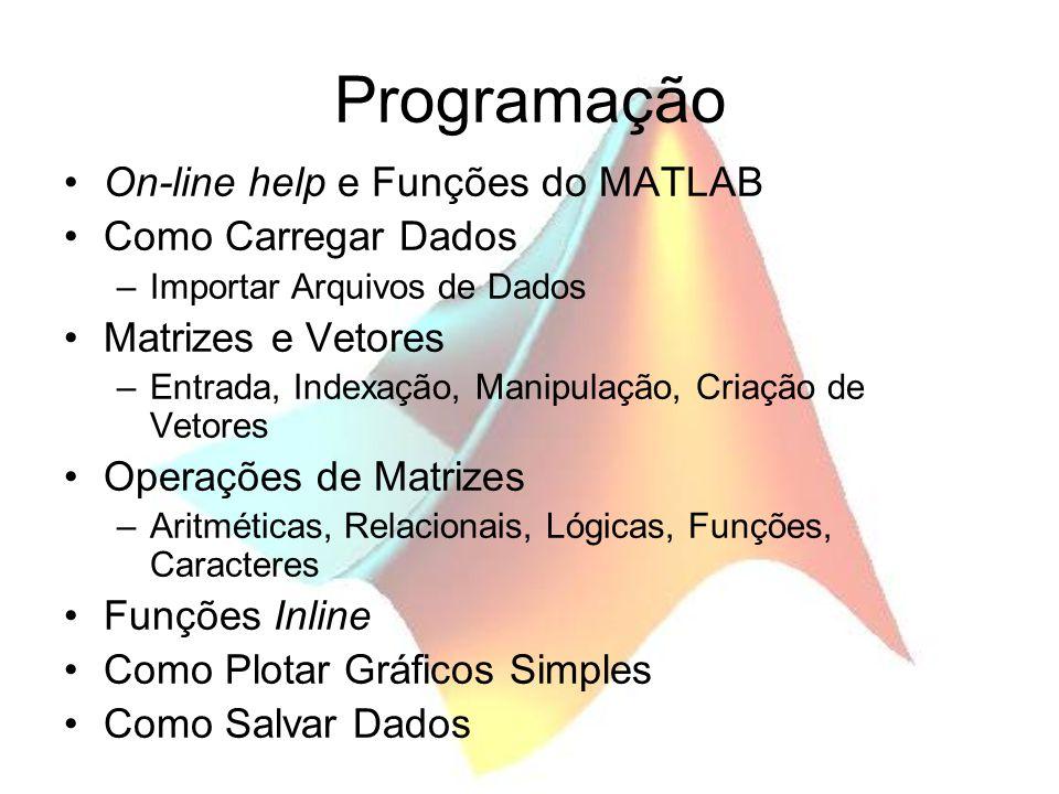 Programação On-line help e Funções do MATLAB Como Carregar Dados