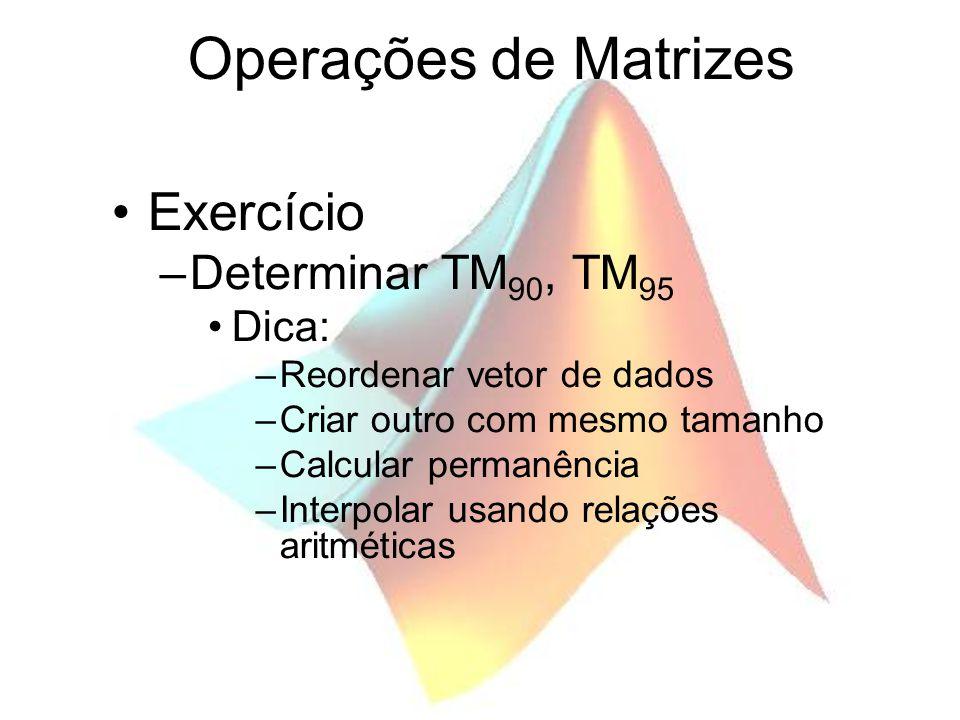 Operações de Matrizes Exercício Determinar TM90, TM95 Dica: