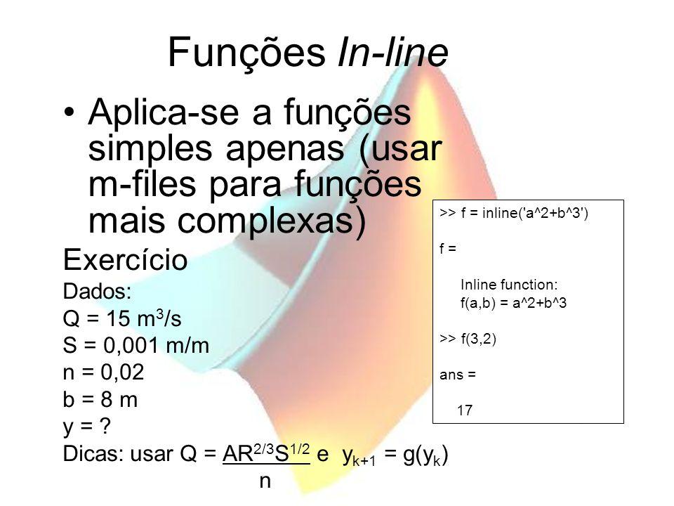 Funções In-line Aplica-se a funções simples apenas (usar m-files para funções mais complexas) Exercício.