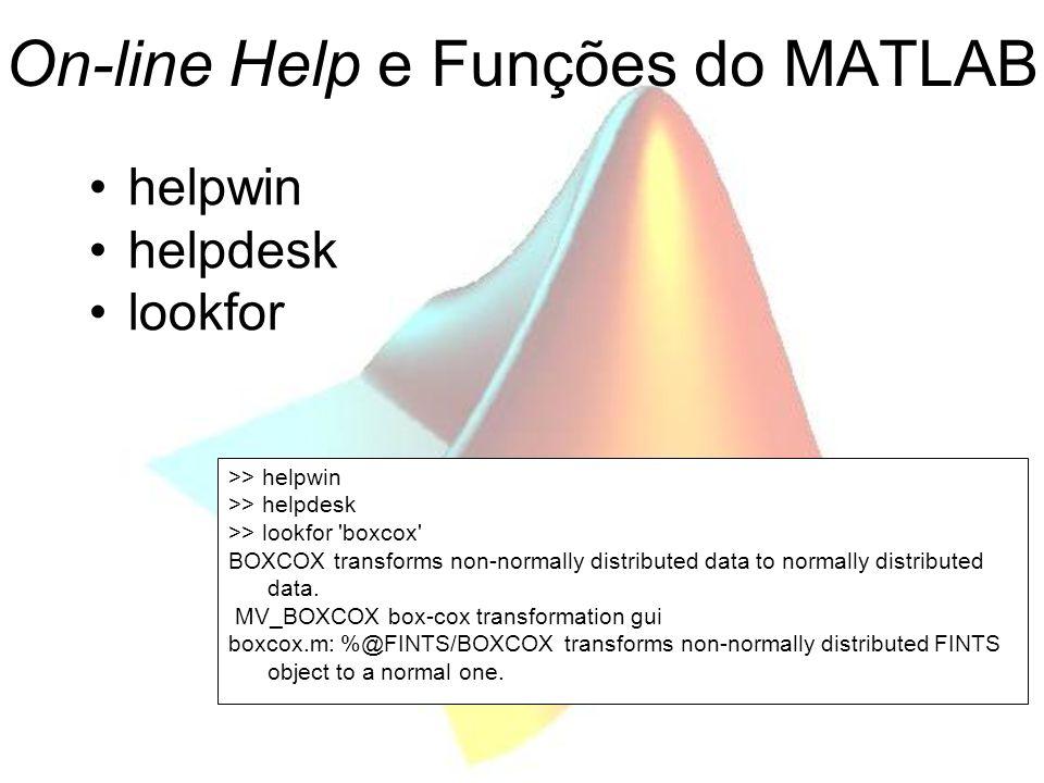 On-line Help e Funções do MATLAB