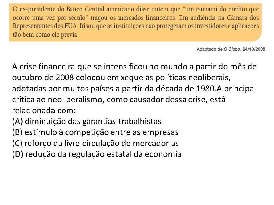 A crise financeira que se intensificou no mundo a partir do mês de outubro de 2008 colocou em xeque as políticas neoliberais, adotadas por muitos países a partir da década de 1980.A principal crítica ao neoliberalismo, como causador dessa crise, está relacionada com: