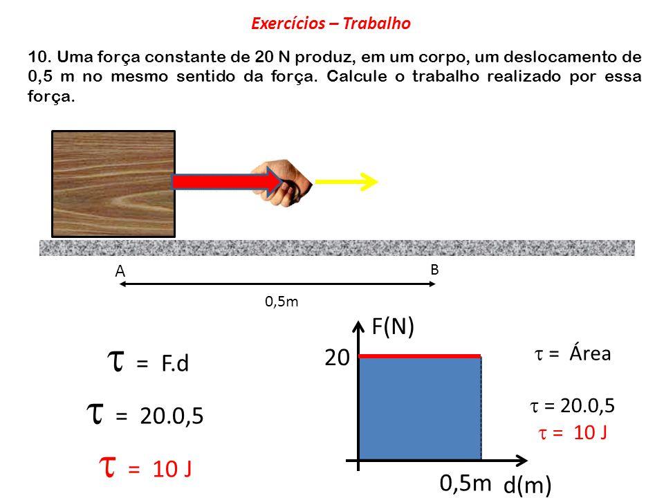  = 20.0,5  = 10 J F(N)  = F.d 20 0,5m d(m)  = Área  = 20.0,5