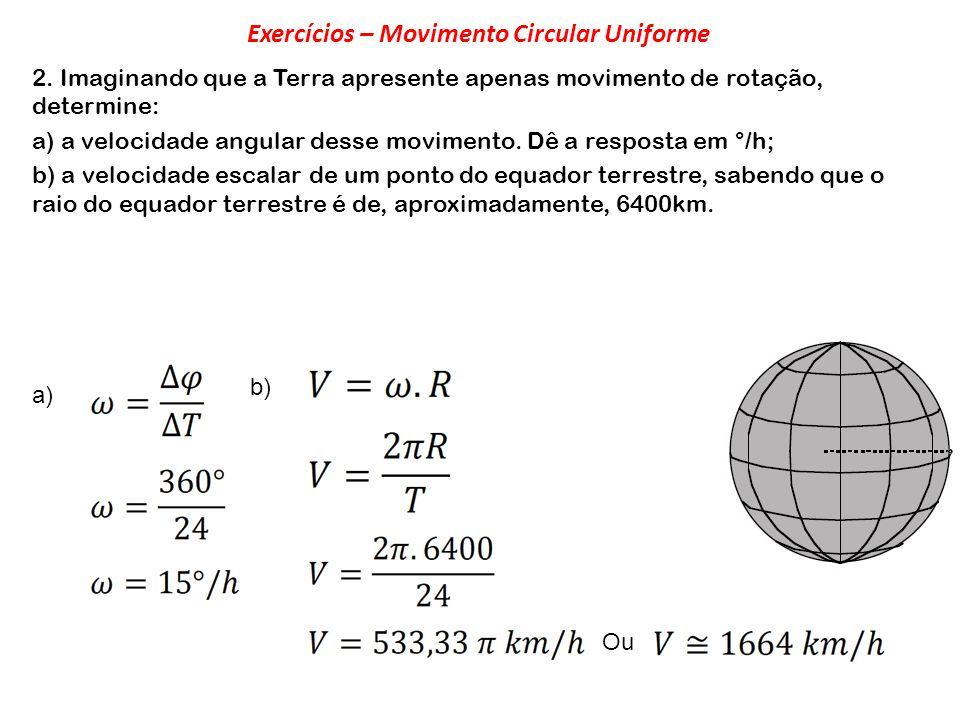 Exercícios – Movimento Circular Uniforme