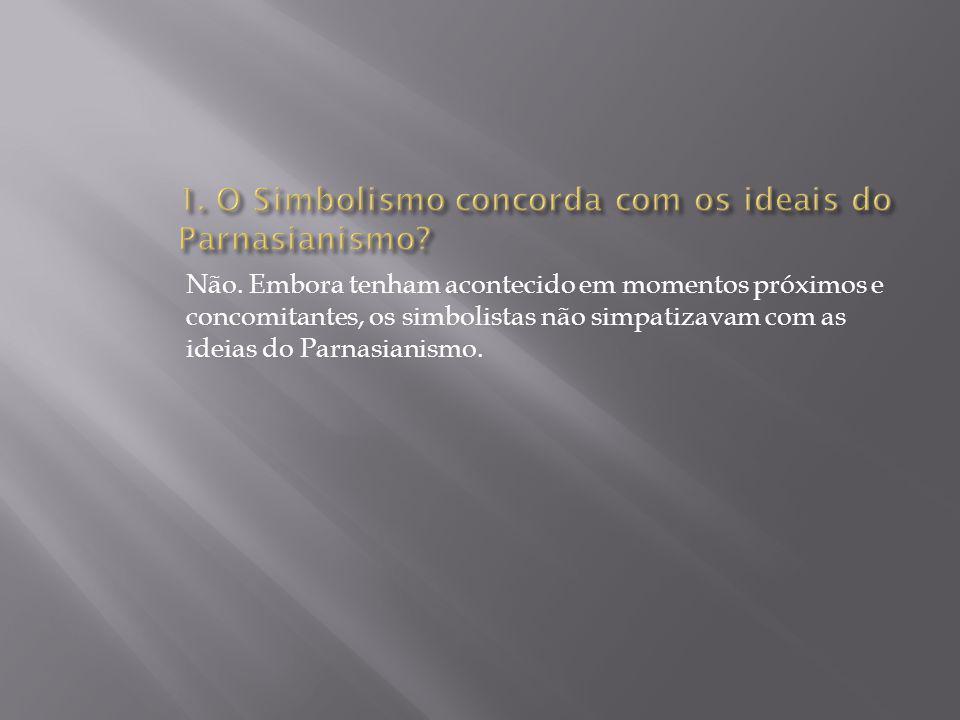 1. O Simbolismo concorda com os ideais do Parnasianismo