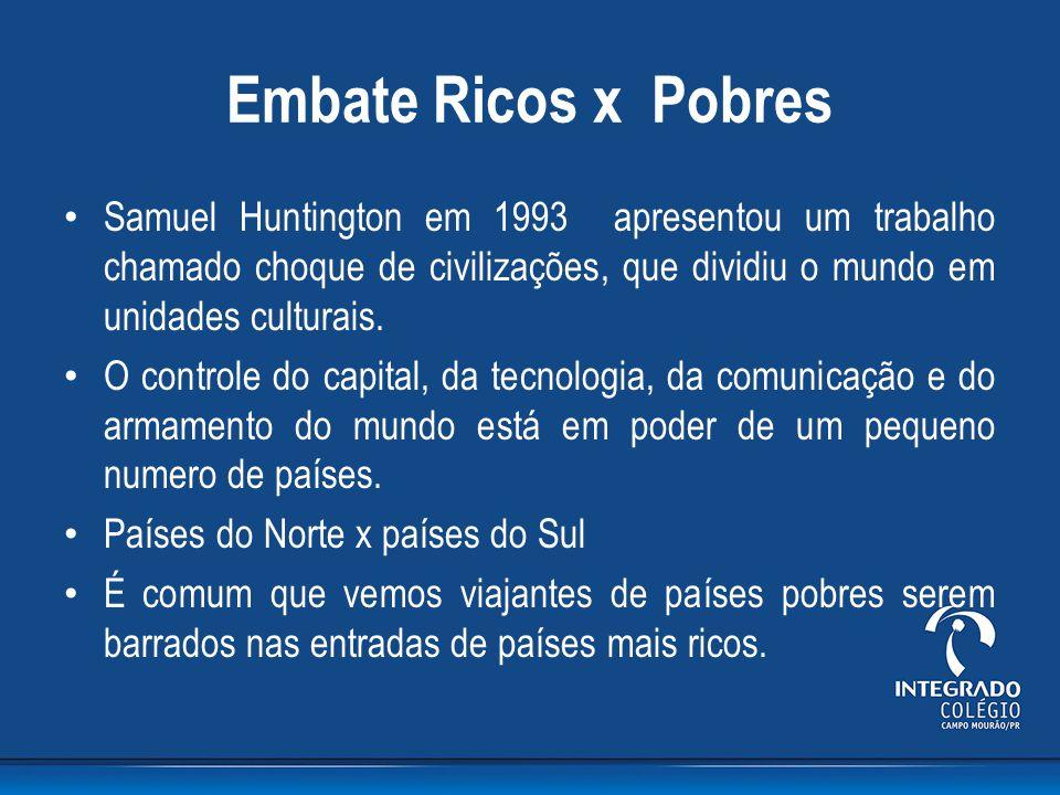 Embate Ricos x Pobres Samuel Huntington em 1993 apresentou um trabalho chamado choque de civilizações, que dividiu o mundo em unidades culturais.