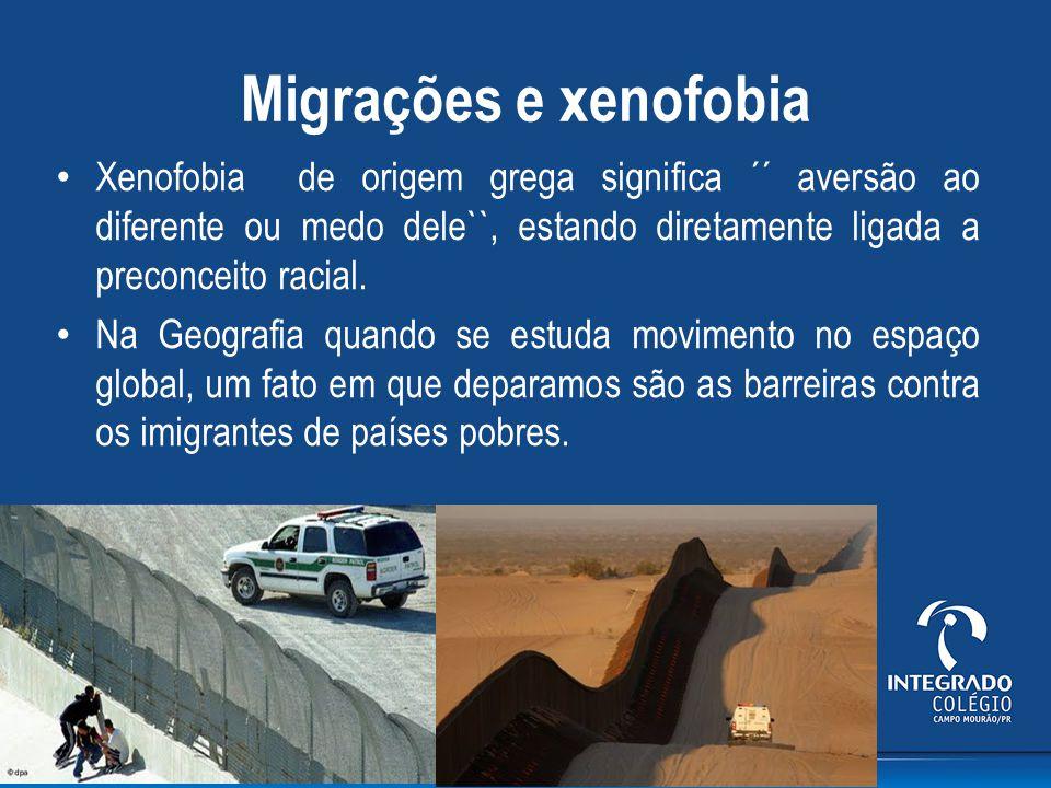Migrações e xenofobia Xenofobia de origem grega significa ´´ aversão ao diferente ou medo dele``, estando diretamente ligada a preconceito racial.