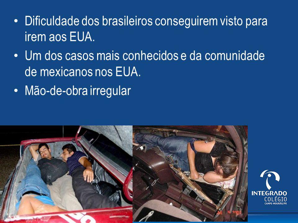 Dificuldade dos brasileiros conseguirem visto para irem aos EUA.