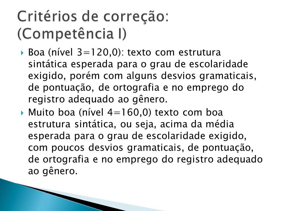 Critérios de correção: (Competência I)