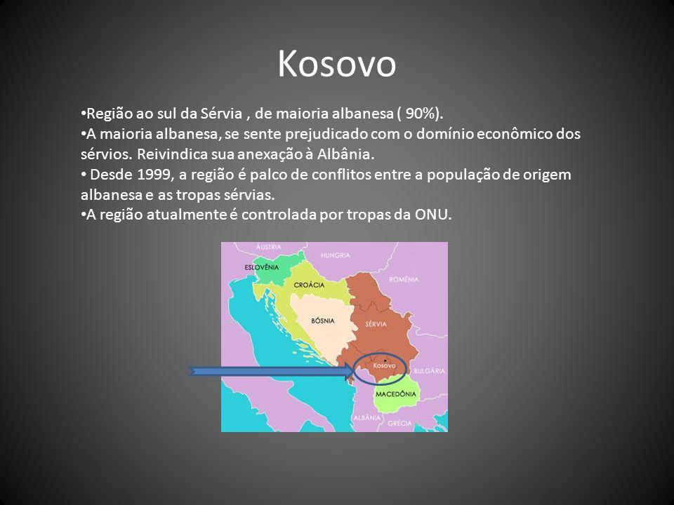 Kosovo Região ao sul da Sérvia , de maioria albanesa ( 90%).